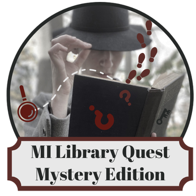 MiLibraryQuest logo with mysterious figure holding an open book with footprints and question marks falling out